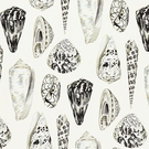 SCALAMANDRE COQUINA SEASHELLS LINEN FABRIC GRAPHITE