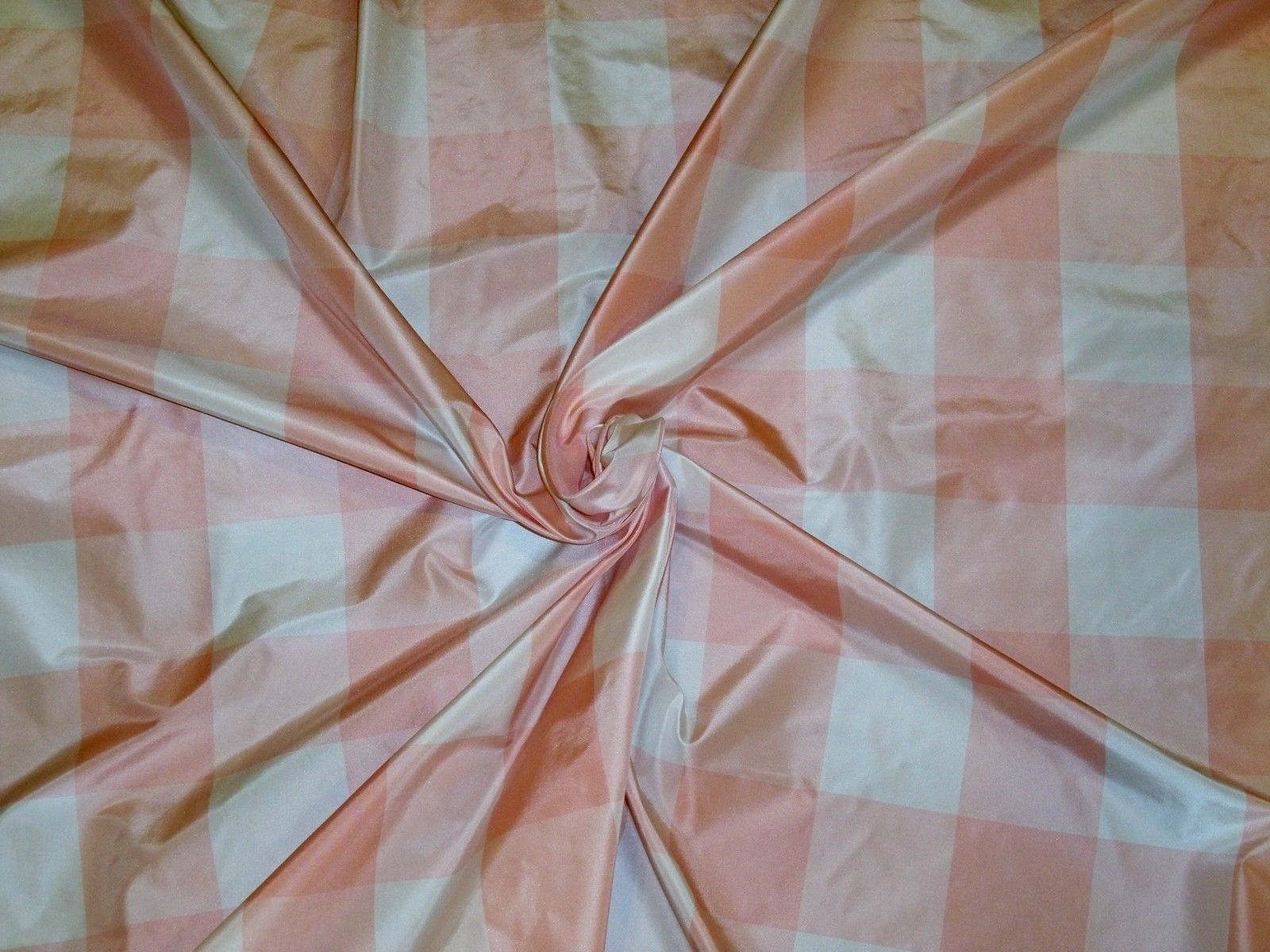 Scalamandre Cornwall Plaid Silk Taffeta Fabric Pink