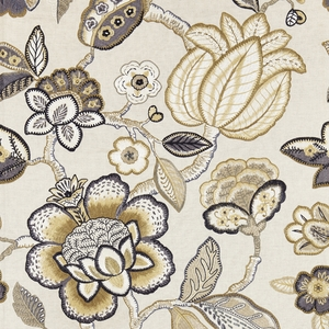 SCALAMANDRE COROMANDEL EMBROIDERY FABRIC FLAX