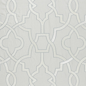 SCALAMANDRE DAMASCUS EMBROIDERY COTTON FABRIC PEARL GREY