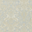 SCALAMANDRE ELIZABETH DAMASK EMBROIDERY FABRIC AQUAMARINE