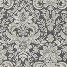 SCALAMANDRE ELIZABETH DAMASK EMBROIDERY FABRIC CHARCOAL