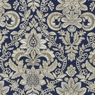 SCALAMANDRE ELIZABETH DAMASK EMBROIDERY FABRIC INDIGO