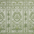 SCALAMANDRE EMMA'S LYRE SILK LAMPAS FABRIC LIMITED AVAILABILITY SPECIAL GREENS ON IVORY - 5 YARD MINIMUM