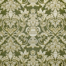 SCALAMANDRE EMMA'S URNS SILK LAMPAS DAMASK FABRIC LIMITED AVAILABILITY /BEIGES GREEN / 5 YARD MIN.