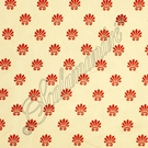 SCALAMANDRE ESCALLOP SILK LAMPAS FABRIC LIMITED AVAILABILITY RED ON IVORY / 5 YARD MIN.