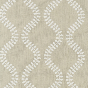 SCALAMANDRE FOGLIA EMBROIDERY FABRIC FLAX