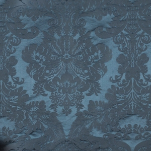 SCALAMANDRE XVIII CENTURY GEORGIAN SILK DAMASK FABRIC PERSIAN BLUE