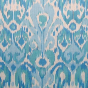 SCALAMANDRE GREYSTONE IKAT KILIM COTTON FABRIC BLUE ON CREAM