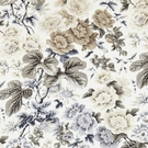 SCALAMANDRE HIGHGROVE LINEN PRINT FABRIC WINTER SKY
