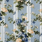 SCALAMANDRE HORTENSIA FABRIC MULTI ON SKY BLUE