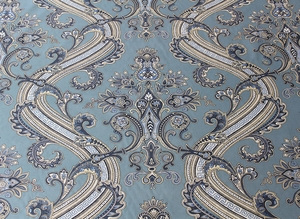 SCALAMANDRE HUDSON PAISLEY BELLE JARDIN COLLECTION FABRIC BLUE