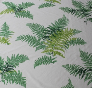SCALAMANDRE LES FOUGERES COTTON PRINT FABRIC GREEN ON WHITE