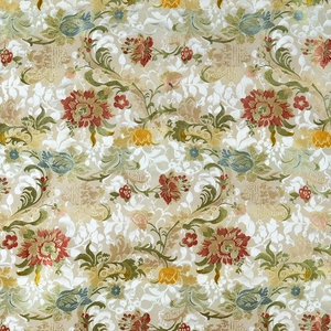 SCALAMANDRE LOUIS XV SILK LAMPAS FABRIC MULTI ON IVORY
