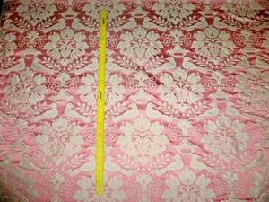SCALAMANDRE LOVE BIRD SILK DAMASK FABRIC MELON