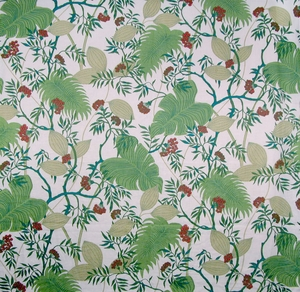 SCALAMANDRE MALIBU TROPICAL LINEN FABRIC TROPICAL GREEN