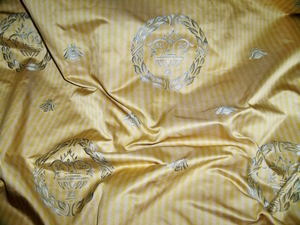 SCALAMANDRE MONROE ARABESQUE LAUREL WREATH IMPERIAL BEE SILK DAMASK STRIPE FABRIC