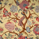 SCALAMANDRE PONDICHERRY COTTON FABRIC RED BLUE ON BEIGE