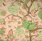 SCALAMANDRE PONDICHERRY COTTON FABRIC SALMON GREEN ON SALMON