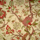 SCALAMANDRE PONDICHERRY COTTON FABRIC TURKEY  RED ON LIME