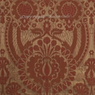 SCALAMANDRE PUGIN FABRIC RED ON BRONZE STRIE