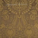 SCALAMANDRE PUGIN FABRIC TAN ON BRONZE STRIE