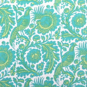 SCALAMANDRE RESIST PRINT BIRDS LINEN FABRIC POOL