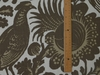 SCALAMANDRE RESIST PRINT BIRDS LINEN FABRIC TAUPE BROWN