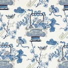 SCALAMANDRE SHANGHAI BLOSSOMS FABRIC CHINA BLUE