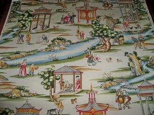 SCALAMANDRE SHANGHAI PRINTED TOILE FABRIC TEA STAIN