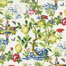 SCALAMANDRE SHANTUNG GARDEN FRUIT BUTTERFLY FLORAL LINEN PRINT FABRIC BLOOM
