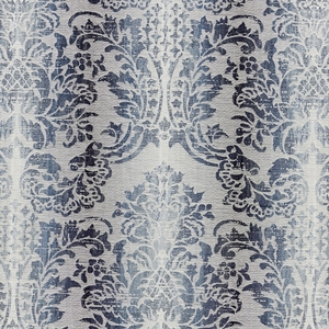 SCALAMANDRE SORRENTO LINEN DAMASK FABRIC INDIGO
