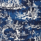 SCALAMANDRE SUMMER PALACE CHINOISERIE FABRIC INDIGO