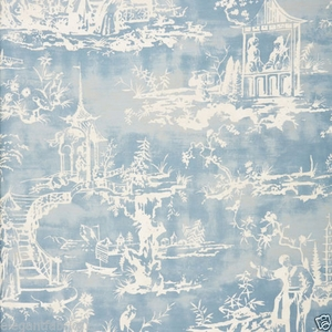 SCALAMANDRE SUMMER PALACE CHINOISERIE FABRIC SKY BLUE