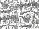 SCHUMACHER WHIMSICAL GRAPHICS OF PARIS COTTON TOILE FABRIC BLACK WHITE