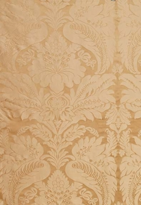 SCHUMACHER BENNET SILK DEMASK FABRIC TRAVERTINE