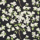SCHUMACHER BLOOMING BRANCH LINEN FABRIC BLACK