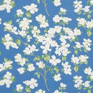 SCHUMACHER BLOOMING BRANCH LINEN FABRIC BLUE