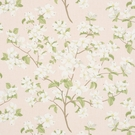 SCHUMACHER BLOOMING BRANCH LINEN FABRIC BLUSH