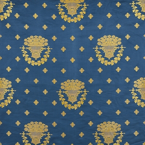 SCHUMACHER BLUE ROOM LAMPAS SILK FABRIC BLUE