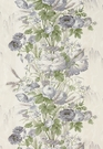 SCHUMACHER BOUGHTON HOUSE FLORAL PRINT FABRIC GRIS