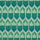 SCHUMACHER BUKHARA IKAT FABRIC EMERALD & PEACOCK