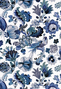 SCHUMACHER CAMBOURNE FABRIC PORCELAIN BLUE