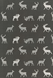 SCHUMACHER CARIBOU EMBROIDERY FABRIC CHARCOAL