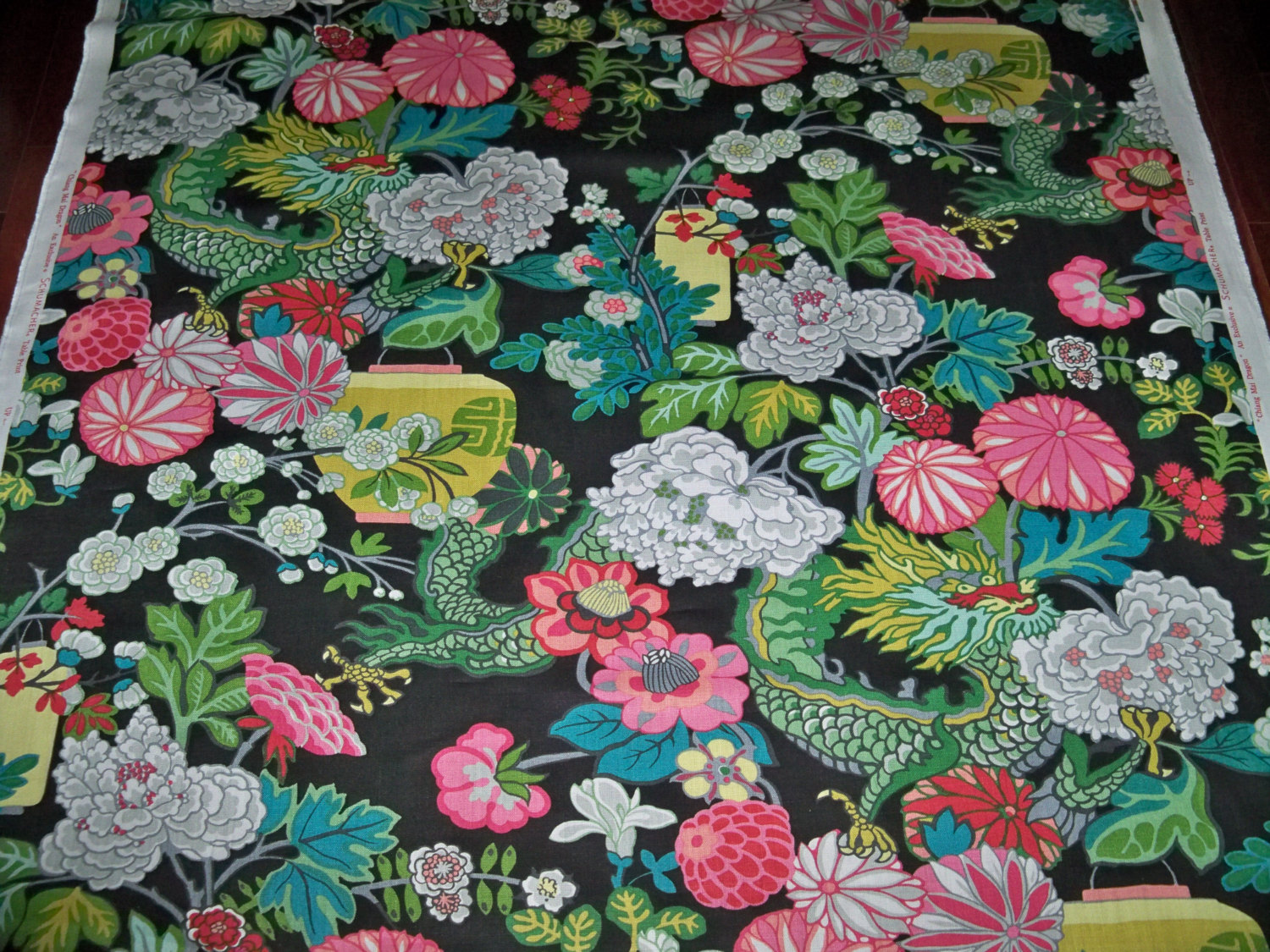 Schumacher Chiang Mai Dragon Fabric Ebony