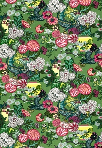 SCHUMACHER CHIANG MAI DRAGON FABRIC JADE