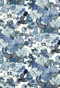 SCHUMACHER CHINOISERIE CHIANG MAI DRAGON FABRIC CHINA BLUE