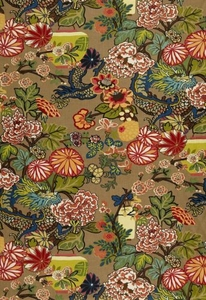 SCHUMACHER CHINOISERIE CHIANG MAI DRAGON FABRIC MOCHA