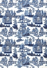 SCHUMACHER CHINOISERIE PAGODA TOILE LINEN FABRIC BLUE