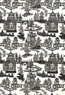 SCHUMACHER CHINOISERIE PAGODA TOILE LINEN FABRIC CHARCOAL